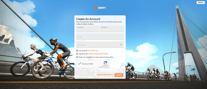 zwift create account